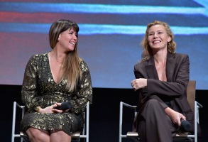 "NORTH HOLLYWOOD, CA - MAY 09:  Patty Jenkins (L) and Connie Nielsen speak onstage at TNT's ""I Am The Night"" FYC Event on May 9, 2019 in North Hollywood, California.  (Photo by Emma McIntyre/Getty Images for WarnerMedia)"