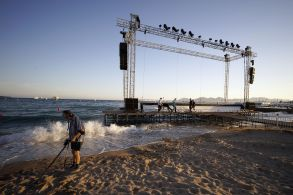 Workers Install the Giant Screen of the Cinema De La Plage the Festival's Outdoors Theater Ahead of the 68th Cannes Film Festival in Cannes France 12 May 2015 the Festival Runs From 13 to 24 May France CannesFrance Cannes Film Festival 2015 - May 2015