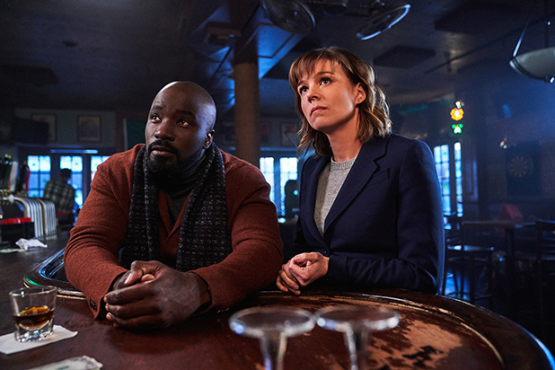 EVIL is a psychological mystery that examines science vs. religion and the origins of evil. The series focuses on a skeptical female forensic psychologist who joins a priest-in-training and a carpenter to investigate and assess the Church's backlog of supposed miracles, demonic possessions and unexplained phenomena in CBS series EVIL on the CBS Television Network.Pictured (L-R) Mike Colter as David Acosta and Katja Herbers as Kristen Bouchard Elizabeth Fisher/CBS ©2019 CBS Broadcasting, Inc. All Rights Reserved