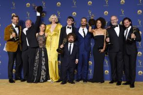 George R. R. Martin, cast and crew - Outstanding Drama Series - 'Game of Thrones'70th Primetime Emmy Awards, Press Room, Los Angeles, USA - 17 Sep 2018