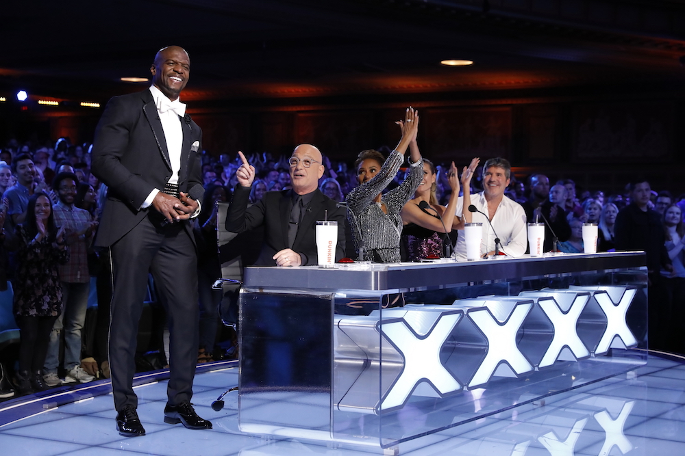 "AMERICA'S GOT TALENT: THE CHAMPIONS -- ""The Champions Results Finale"" Episode 107 -- Pictured: (l-r) Terry Crews, Howie Mandel, Mel B, Heidi Klum, Simon Cowell -- (Photo by: Trae Patton/NBC)"