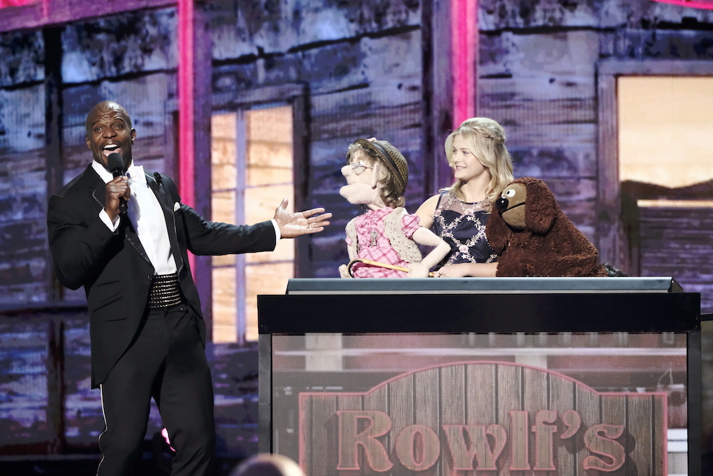 "AMERICA'S GOT TALENT: THE CHAMPIONS -- ""The Champions Results Finale"" Episode 107 -- Pictured: (l-r) Terry Crews, Darci Lynne -- (Photo by: Trae Patton/NBC)"