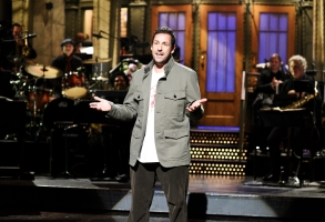 "SATURDAY NIGHT LIVE -- ""Adam Sandler"" Episode 1765 -- Pictured: Host Adam Sandler during the ""I Was Fired"" Monologue on Saturday, May 4, 2019 -- (Photo by: Will Heath/NBC)"