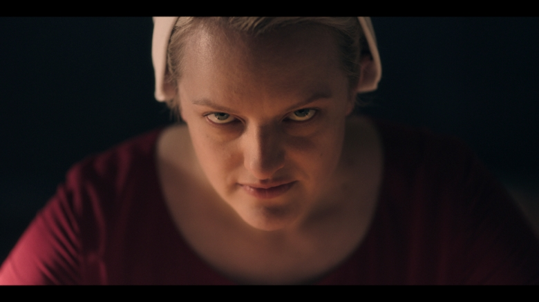 "Season Three of THE HANDMAIDÕS TALE is driven by JuneÕs resistance to the dystopian regime of Gilead and her struggle to strike back against overwhelming odds. Startling reunions, betrayals, and a journey to the terrifying heart of Gilead force all characters to take a stand, guided by one defiant prayer: ÒBlessed be the fight."" Offred (Elisabeth Moss), shown.  (Photo courtesy of/Hulu)"