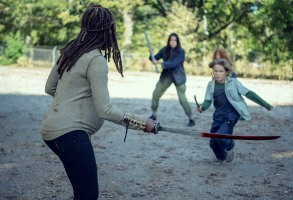 Danai Gurira as Michonne, Jessi Goei as Gina, Luke David Blumm as Linus - The Walking Dead _ Season 9, Episode 14 - Photo Credit: Gene Page/AMC