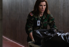 Julianna Margulies as Dr. Nancy Jaax in the National Geographic scripted miniseries The Hot Zone, based on Richard Preston's bestseller about the Ebola virus in the U.S. in 1989.  (National Geographic/Amanda Matlovich)