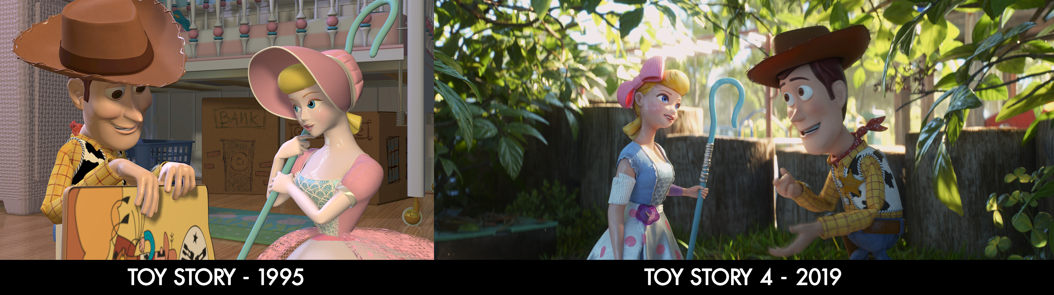 "THEN AND NOW – Filmmakers behind ""Toy Story 4"" were committed to keeping the new film in the same universe as the original ""Toy Story."" But 24 years have passed since ""Toy Story"" debuted and the technology—as well as the experience and knowledge of the people behind it—has advanced lightyears, so to speak. These images showcase those advances in terms of character shapes and textures, rigging, rendering and lighting. Directed by Josh Cooley, ""Toy Story 4"" opens in U.S. theaters on June 21, 2019. ©2019 Disney/Pixar. All Rights Reserved."