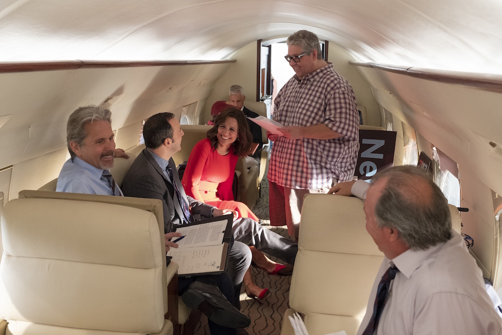 "Gary Cole, Tony Hale, Julia Louis-Dreyfus, and David Mandel during the final season of ""Veep"""