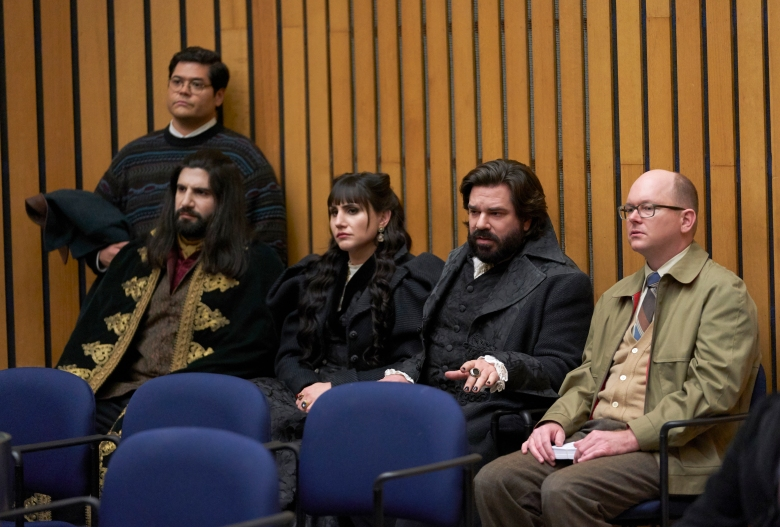 "WHAT WE DO IN THE SHADOWS -- ""City Council"" -- Season 1, Episode 2 (Airs April 3, 10:00 pm e/p) Pictured (l-r): Harvey Guillen as Guillermo, Kayvan Novak as Nandor, Natasia Demetriou as Nadja, Matt Berry as Laszlo, Mark Proksch as Colin Robinson. CR: Russ Martin/FX"