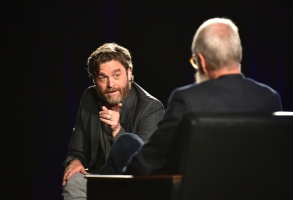 "LOS ANGELES, CALIFORNIA - MAY 23: Zach Galifianakis and David Letterman speak onstage at the Netflix FYSEE ""My Next Guest Needs No Introduction with David Letterman"" ATAS Official Presentation and Reception at Raleigh Studios on May 23, 2019 in Los Angeles, California. (Photo by Emma McIntyre/Getty Images for Netflix)"