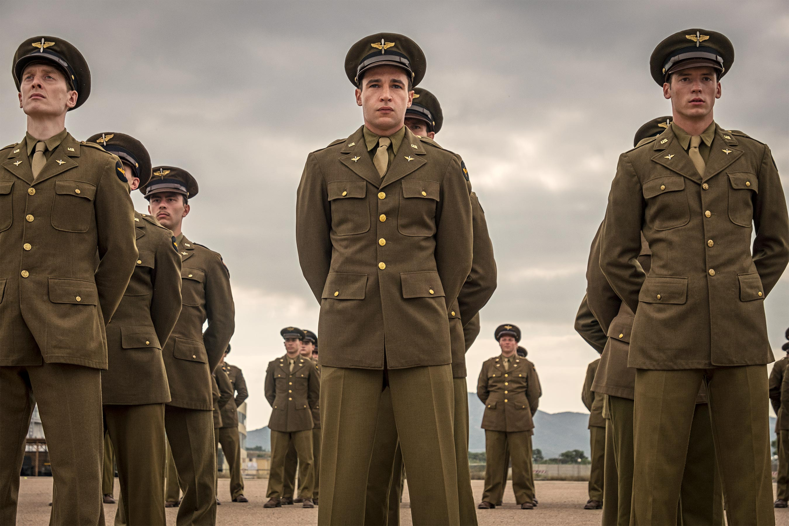 Catch 22 Episode 1 Yossarian (Christopher Abbott) and Clevinger (Pico Alexander)