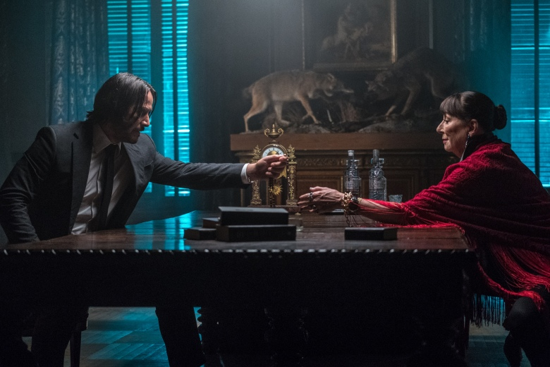"Keanu Reeves Anjelica Huston in ""John Wick 3"""