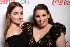 Beanie Feldstein, Kaitlyn Dever. Kaitlyn Dever, left, and Beanie Feldstein, recipients of the CinemaCon female stars of tomorrow award, pose at the Big Screen Achievement Awards at Caesars Palace, in Las Vegas2019 CinemaCon - Big Screen Achievement Awards, Las Vegas, USA - 04 Apr 2019