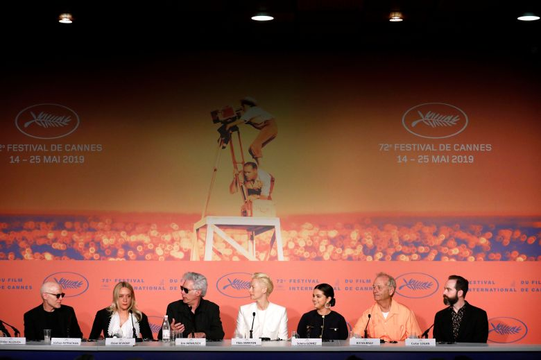 Joshua Astrachan, US actress Chloe Sevigny, US director Jim Jarmusch, British actress Tilda Swinton, US actress Selena Gomez, US actor Bill Murray and US producer Carter Logan attend the press conference for 'The Dead Don't Die' during the 72nd annual Cannes Film Festival, in Cannes, France, 15 May 2019. The movie is presented in the Official Competition of the festival which runs from 14 to 25 May.The Dead Don't Die Press Conference - 72nd Cannes Film Festival, France - 15 May 2019