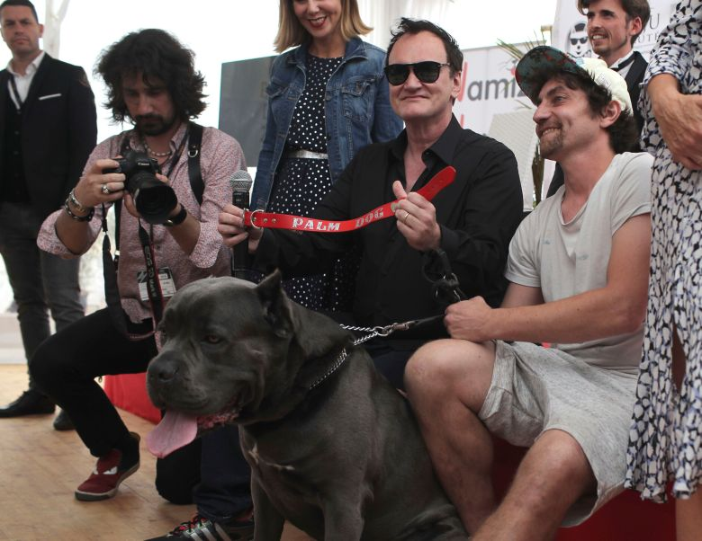 Director Quentin Tarantino poses for photographers with the Palm Dog collar award for the the dog Brandy that appeared in his film 'Once Upon a Time in Hollywood' at the 72nd international film festival, Cannes, southern France2019 Palm Dog Photo Call, Cannes, France - 24 May 2019