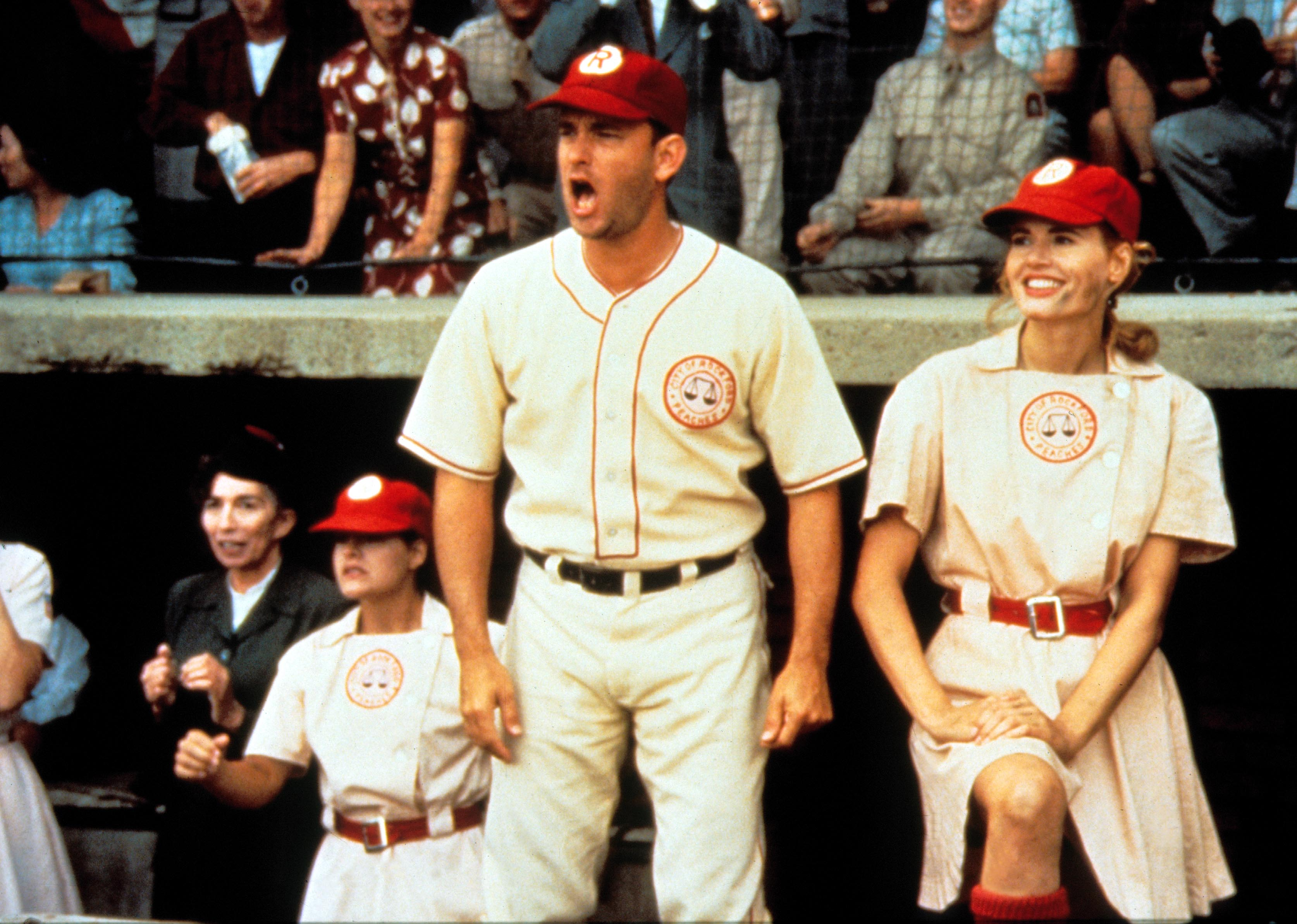 Editorial use only. No book cover usage.Mandatory Credit: Photo by Moviestore/REX/Shutterstock (1562541a) A League Of Their Own, Tom Hanks, Geena Davis Film and Television