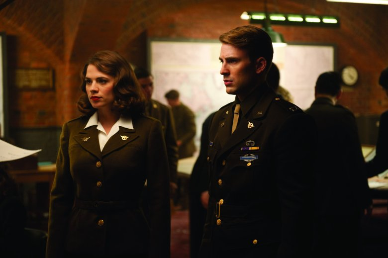 Editorial use only. No book cover usage.Mandatory Credit: Photo by Snap Stills/REX/Shutterstock (2146960h)Left to right: Hayley Atwell plays Peggy Carter and Chris Evans plays Steve RogersCaptain America The First Avenger - 2011