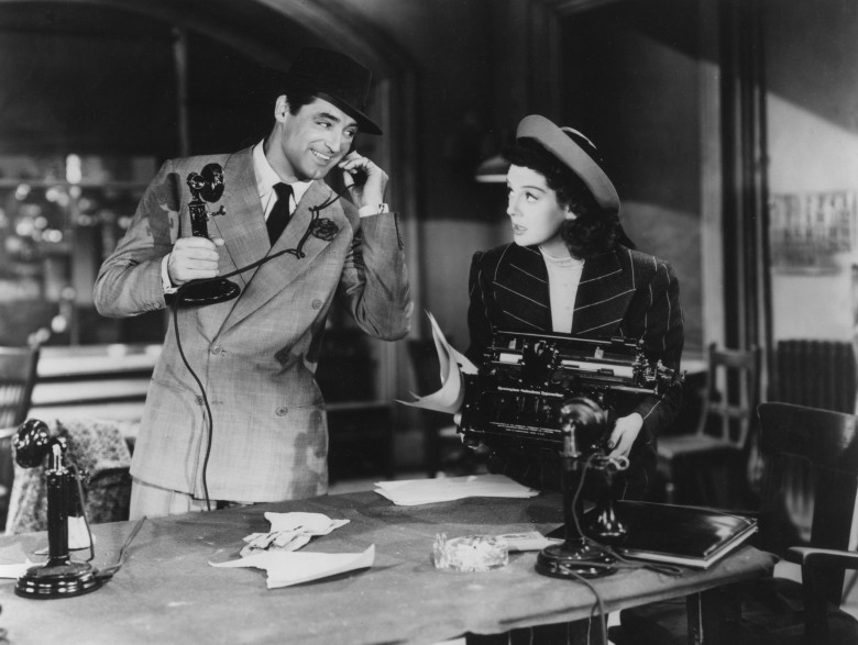 Editorial use only. No book cover usage.Mandatory Credit: Photo by Columbia/Kobal/REX/Shutterstock (5881838m) Cary Grant, Rosalind Russell His Girl Friday - 1940 Director: Howard Hawks Columbia USA Scene Still Comedy La Dame du vendredi