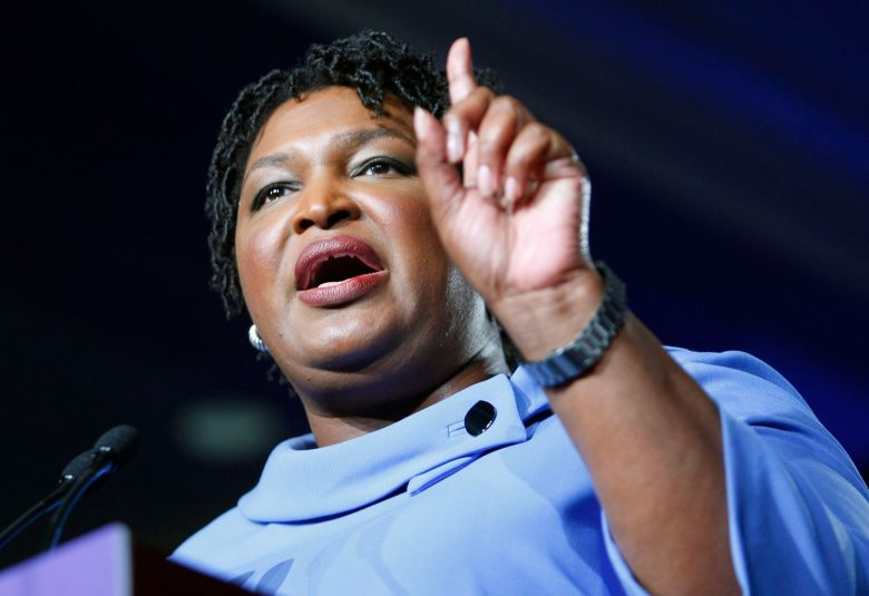 Democratic Gubernatorial candidate Stacey Abrams speaks to supporters and refuses to concede at her election night headquarters, calling the race to close to call in the 2018 mid-term general election at the Hyatt Regency in Atlanta Georgia USA, 06 November 2018. Abrams is facing Republican candidate Brian Kemp.Democratic Gubernatorial candidate Stacey Abrams refuses to concede at her election night headquarters, Atlanta, USA - 06 Nov 2018