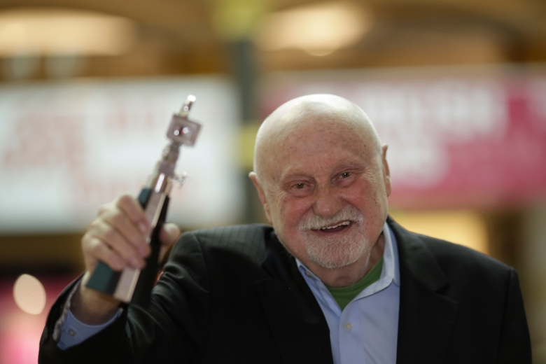 Film producer Ben Barenholtz shows his Berlinale Camera Award after he was honored for his lifetime achievement at the 2016 Berlinale Film Festival in BerlinGermany Berlin Film Festival 2016, Berlin, Germany