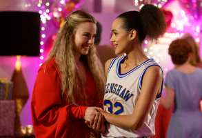 Four Weddings and A Funeral - Episode 101 -- Coming off a devastating heartbreak, Maya travels to London for her best friend Ainsley's wedding. While in town, Maya reconnects with her old college friends, Craig and Duffy, and finds herself thrust into their personal crises. Ainsley (Rebecca Rittenhouse) and Maya (Nathalie Emmanuel), shown. (Photo by: Jay Maidment/Hulu)