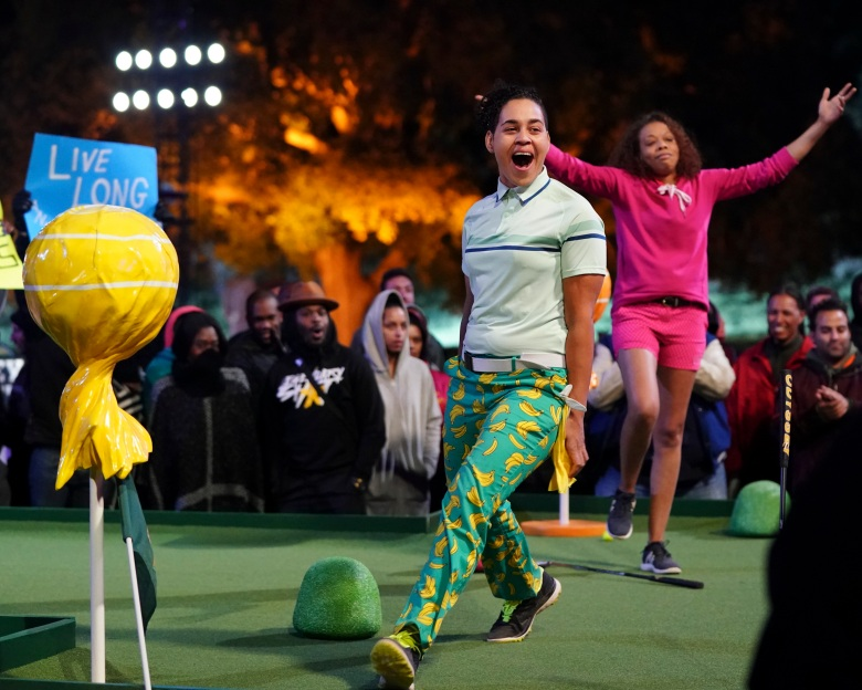 "HOLEY MOLEY - ""Putt Up or Shut Up"" - It's mini-golf like you've never seen it before. Every week, the first-of-its-kind mini-golf competition series with Rob Riggle, Joe Tessitore, Jeannie Mai and resident golf pro Stephen Curry features 12 mini-golfers facing off in a series of head-to-head, sudden-death matchups. Winners will move on to round two and from there, only three will make it to the final hole - the daunting Mt. Holey Moley. At the end of every episode, one winner will be crowned and walk away with the $25,000 prize, ""The Golden Putter"" trophy and coveted ""Holey Moley"" plaid jacket. In the series premiere, a special GRAMMY¨ Award-winning celebrity guest makes an appearance on The Distractor hole in an attempt to distract the putters and break their focus. ""Holey Moley"" premieres THURSDAY, JUNE 20 (8:00-9:00 P.M. EDT), on The ABC Television Network. (ABC/Eric McCandless)MARIAMA BONETTE, RIO HAWKINS"