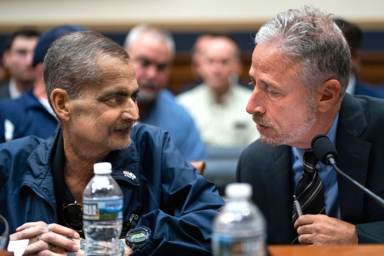 Jon Stewart (R), the former host of 'The Daily Show,' talks with former NYPD Bomb Squad Detective Louis Alvarez (L) before a House Judiciary Committee hearing called 'The Need to Reauthorize the September 11th Victim Compensation Fund' in the Rayburn House Office Building in Washington, DC, USA, 11 June 2019. Alvarez is under going chemo for cancer, which he contracted working on Ground Zero after the twin towers fell.Jon Stewart testifies on behalf of 9/11 victim compensation fund, Washington, USA - 11 Jun 2019