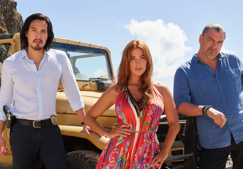 "REEF BREAK - ABC's ""Reef Break"" stars Desmond Chiam as Wyatt Cole, Poppy Montgomery as Cat Chambers, and Ray Stevenson as Jake Elliot. (ABC/Craig Sjodin)"