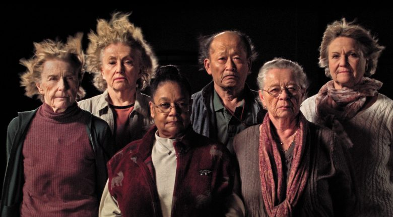 Scene from documentary film THE RAFT by Marcus Lindeen, that reunites participants of the Acali expedition from 1973, where eleven people drifted across The Atlantic as part of a controversial scientific study in human behavior. From left to right: Mary Gidley, Edna Reves, Fé Seymour, Eisuke Yamaki, Maria Björnstam and Servane Zanotti.