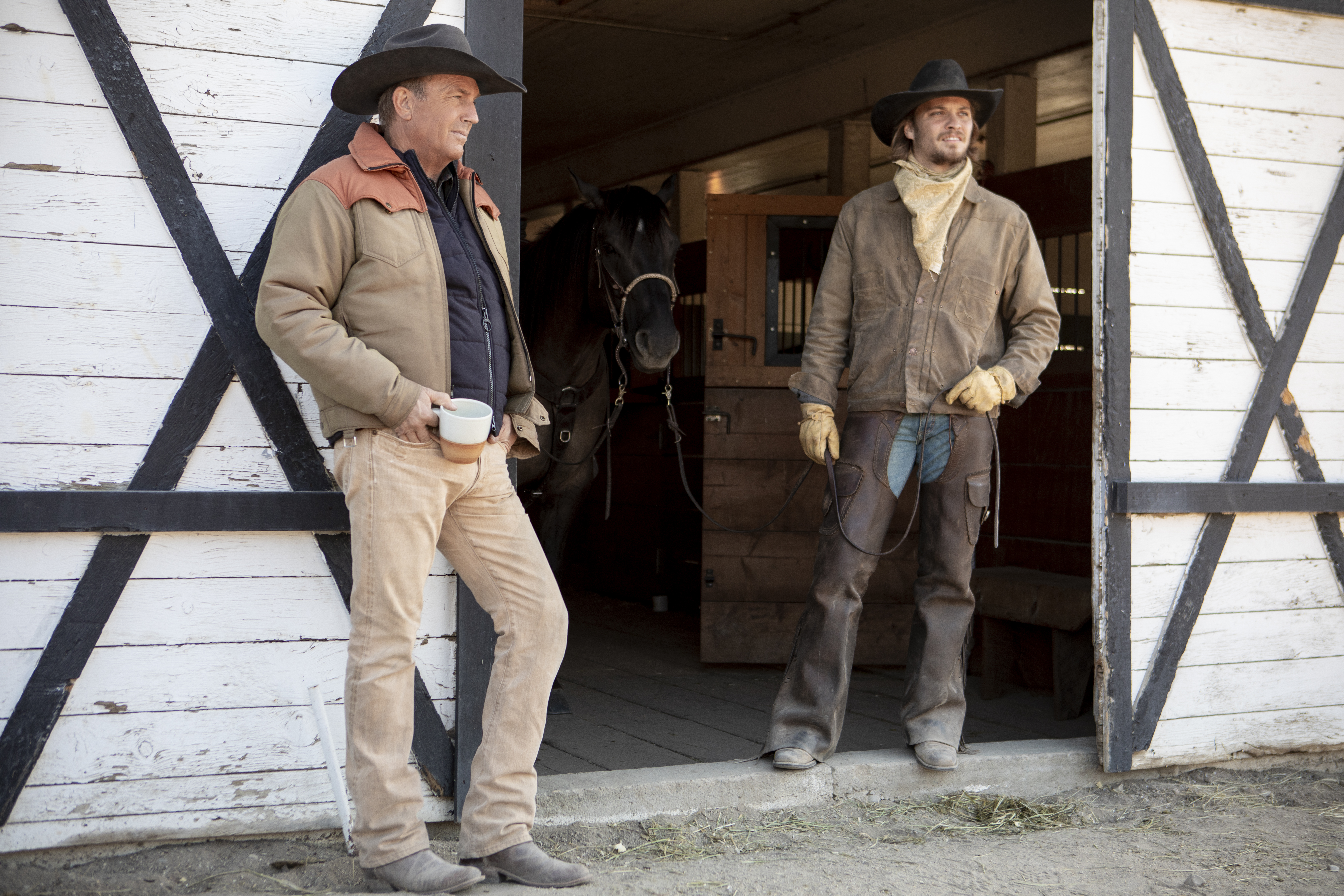 "John Dutton (R- Kevin Costner) hands over the reigns to the Ranch to his youngest son Kayce (L-Luke Grimes) Season 2 of ""Yellowstone"" returns to Paramount Network starting Wednesday, June 19 at 10 PM, ET/PT."