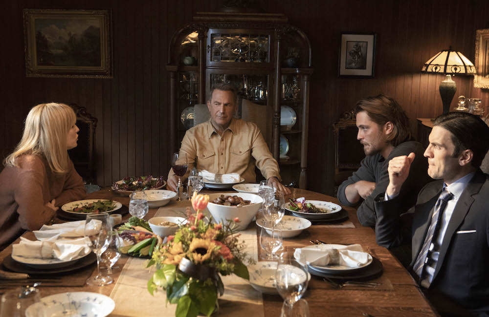 Dutton family dinner at the ranch. Pictured (L to R) Daughter Beth Dutton (Kelly Reilly), family partriarch John Dutton (Kevin Costner) and sons Kayce Dutton (Luke Grimes) and Jamie Dutton (Wes Bentley). Season 2 of Yellowstone returns to Paramount Network starting Wednesday, June 19 at 10 p.m., ET/PT.