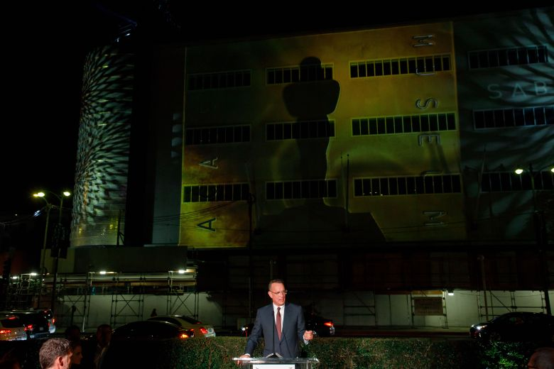 Tom Hanks gestures in front of the newly unveiled exterior facade of the Academy Museum of Motion Pictures in Los Angeles, California, USA, 04 December 2018. The museum in the Saban Building will house exhibitions on the history of movies and moviemaking when it opens sometime in 2019.Academy Museum of Motion Pictures exterior unveiled, Los Angeles, USA - 04 Dec 2018
