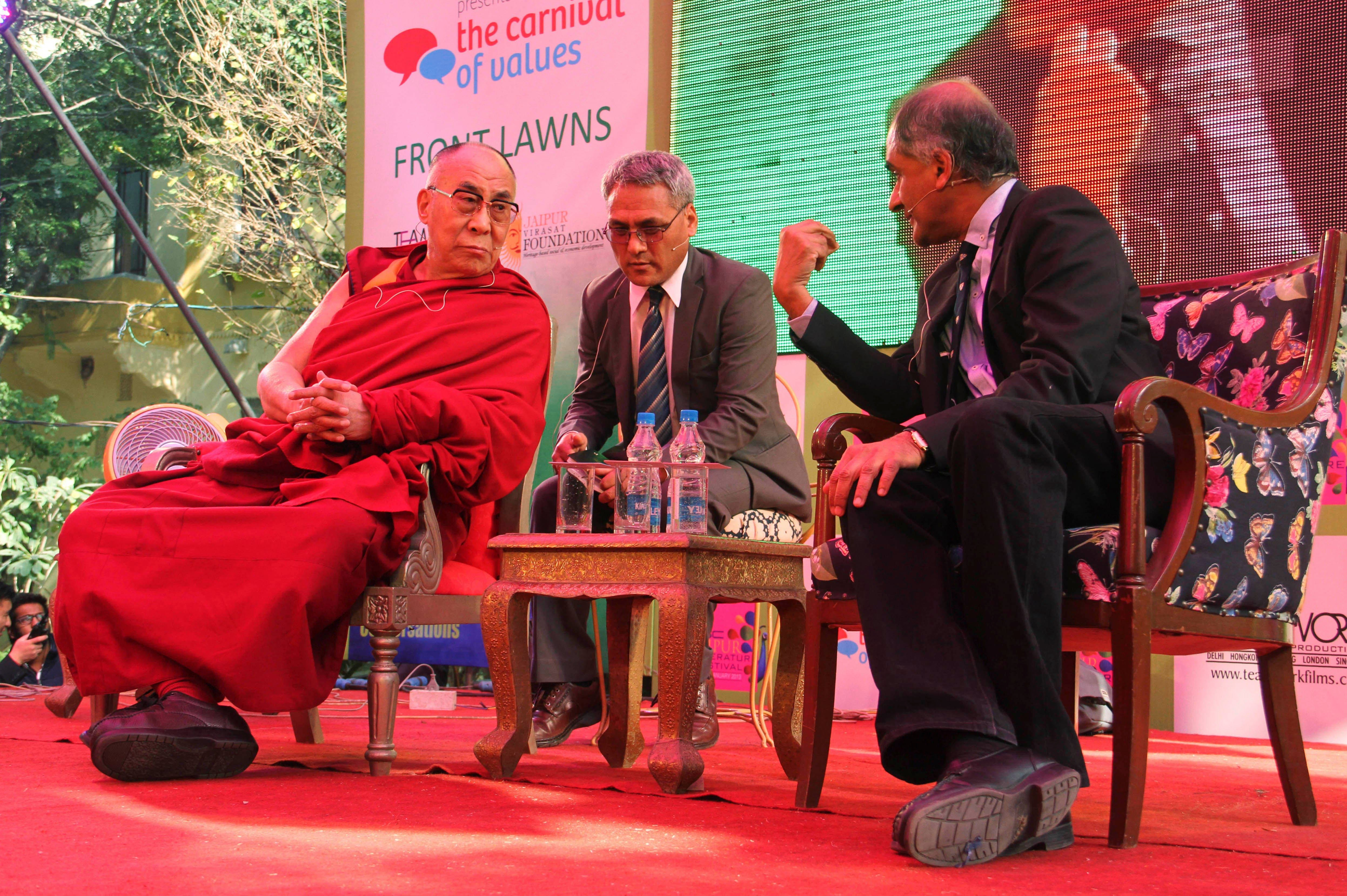 The Dalai Lama, Pico Iyer The Dalai Lama, left, listens to one of his biographers, Pico Iyer at one of the sessions on the opening day of India's Jaipur Literature Festival in Jaipur, India, . This year's festival will also feature author Zoe Heller and Booker Prize winner Howard JacobsonIndia Literary Festival, Jaipur, India