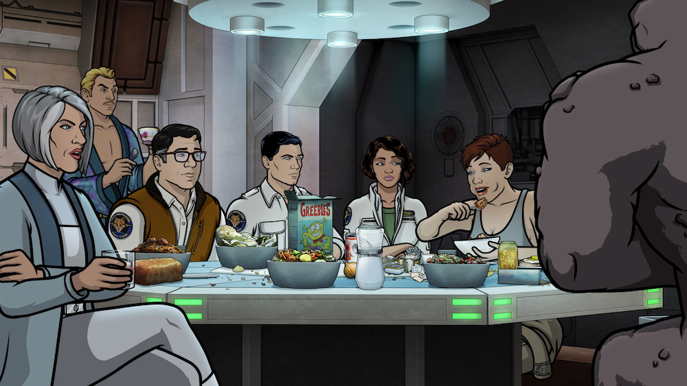 "ARCHER: 1999 -- ""Cubert"" -- Season 10, Episode 8 (Airs Wednesday, July 24, 10:00 p.m. e/p) Pictured (l-r): Malory Archer (voice of Jessica Walter), Ray Gillette (voice of Adam Reed), Cyril Figgis (voice of Chris Parnell), Sterling Archer (voice of H. Jon Benjamin), Lana Kane (voice of Aisha Tyler), Cheryl/Carol Tunt (voice of, Judy Greer). CR: FXX"
