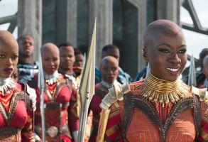 "Editorial use only. No book cover usage.Mandatory Credit: Photo by Marvel/Disney/Kobal/Shutterstock (9360960ct)Florence Kasumba, Danai Gurira""Black Panther"" Film - 2018"