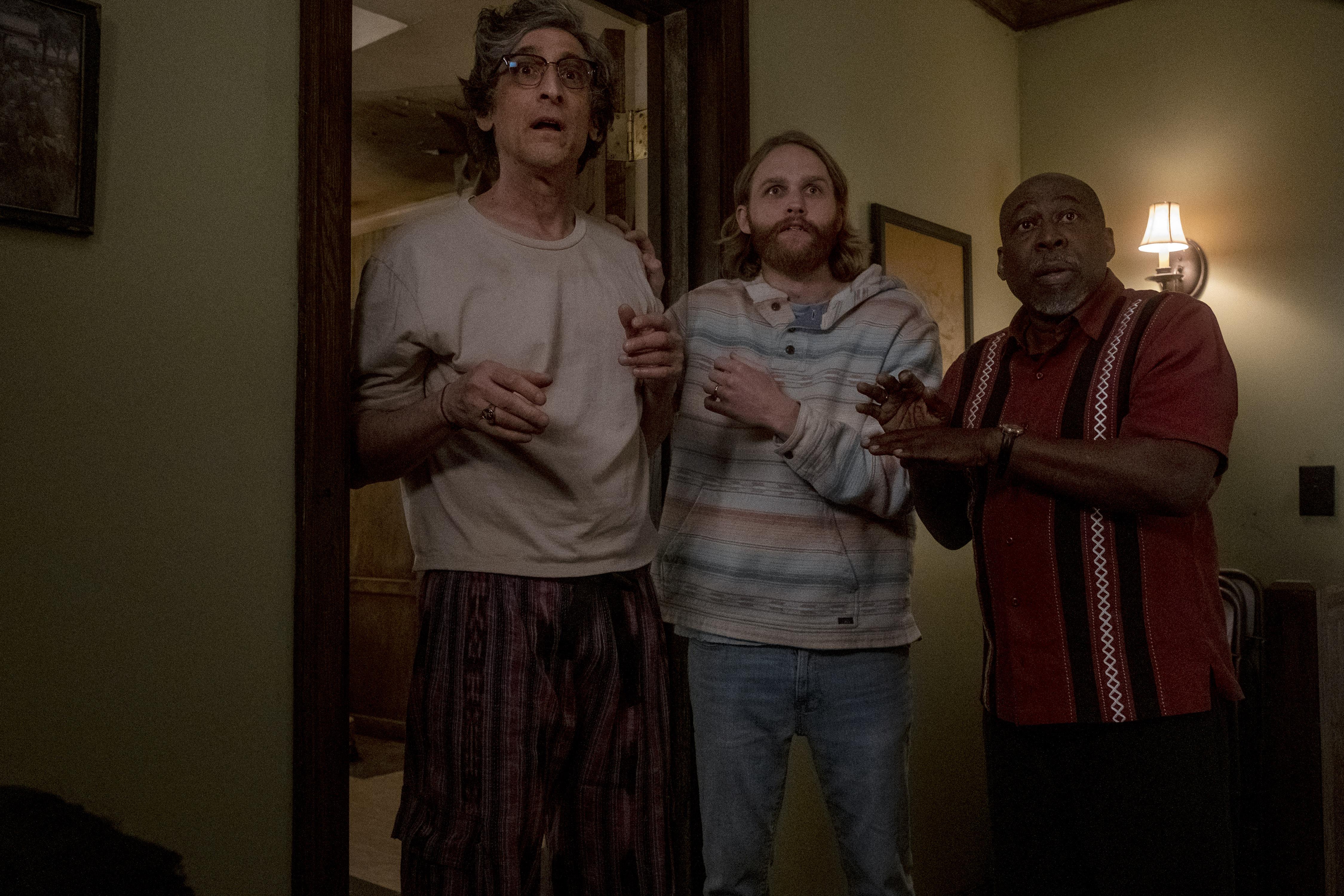 "David Pasquesi as Blaise St John, Wyatt Russell as Sean ""Dud"" Dudley, Brent Jennings as Ernie Fontaine - Lodge 49 _ Season 2 - Photo Credit: Jackson Lee Davis/AMC"