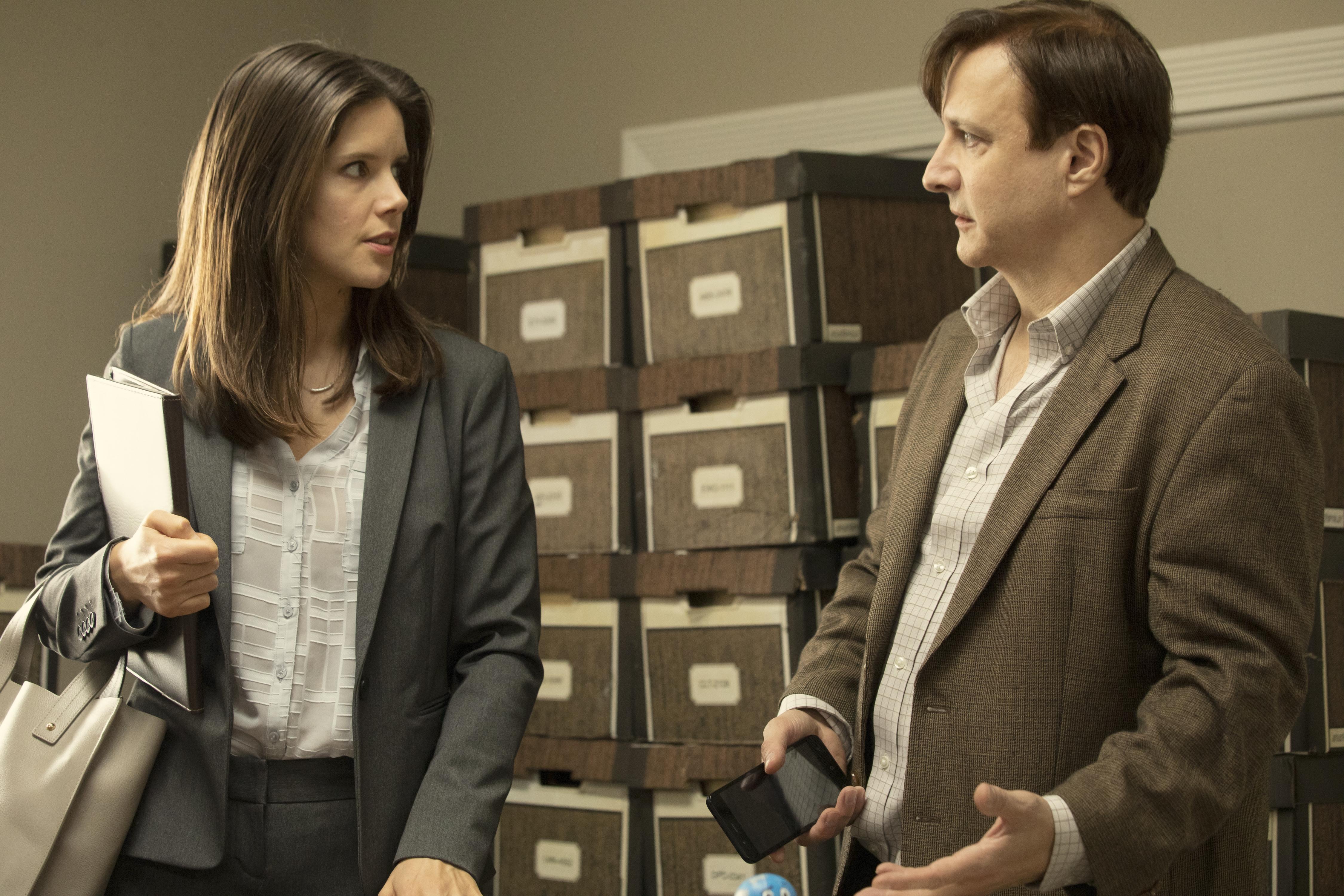 Sonya Cassidy as Liz Dudley, Bronson Pinchot as Dr. Kimbrough- Lodge 49 _ Season 2 - Photo Credit: Jackson Lee Davis/AMC