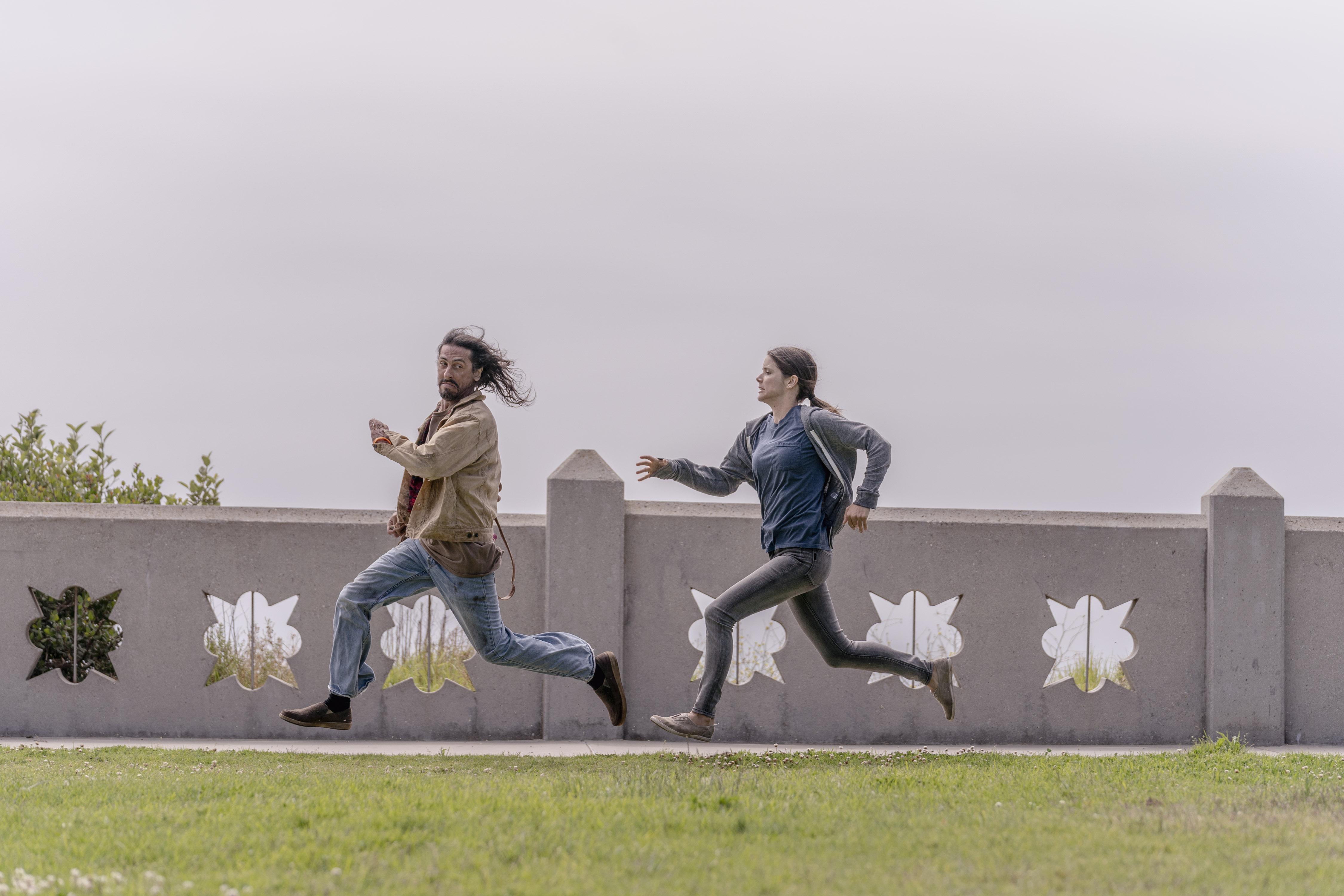 Michael Delgado as Homeless Man, Sonya Cassidy as Liz Dudley - Lodge 49 _ Season 2 - Photo Credit: Michael Moriatis/AMC