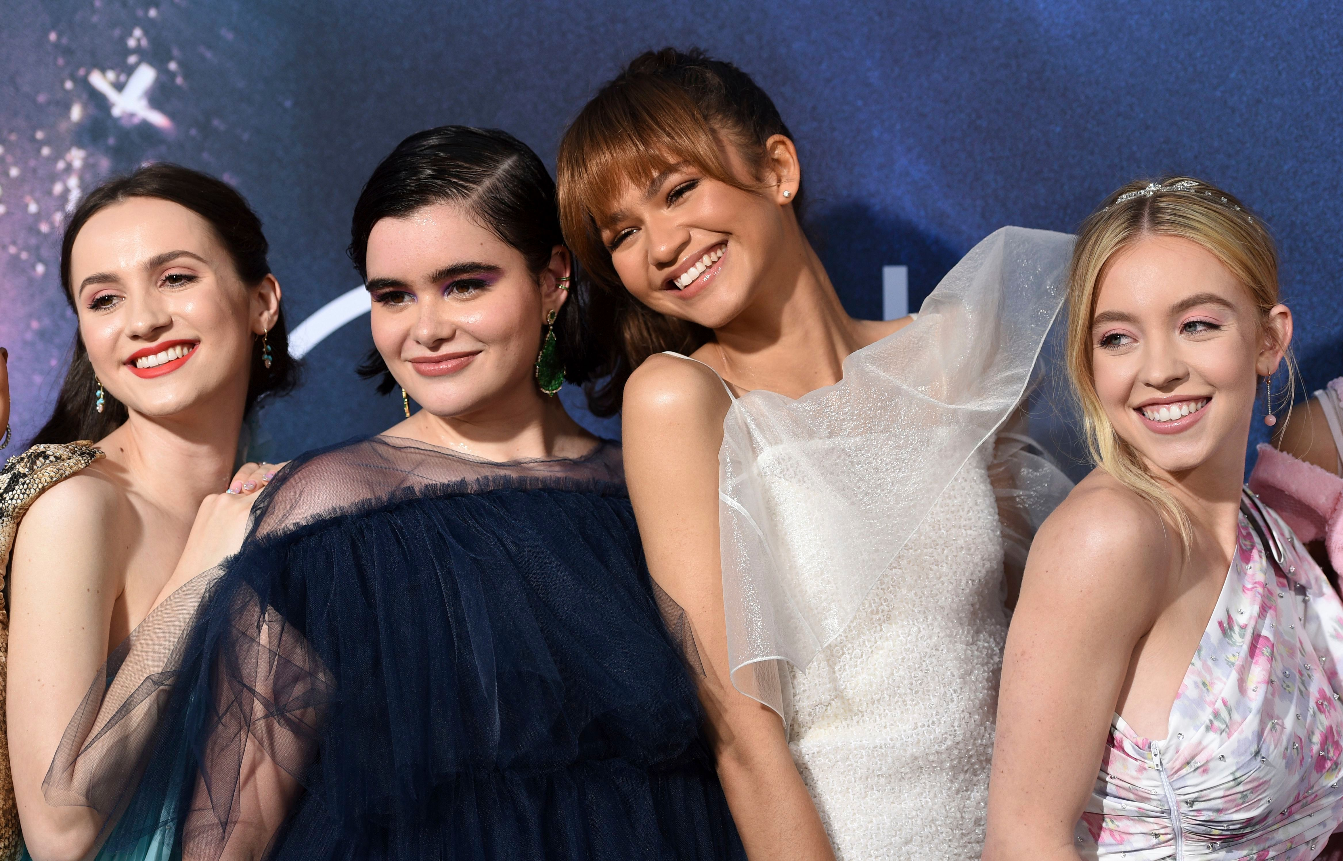 "Maude Apatow, Barbie Ferreira, Zendaya, Syndey Sweeney. From left, Maude Apatow, Barbie Ferreira, Zendaya and Sydney Sweeney, cast members in the HBO drama series ""Euphoria,"" pose together at the premiere of the series at the ArcLight Hollywood, in Los AngelesLA Premiere of ""Euphoria"", Los Angeles, USA - 04 Jun 2019"