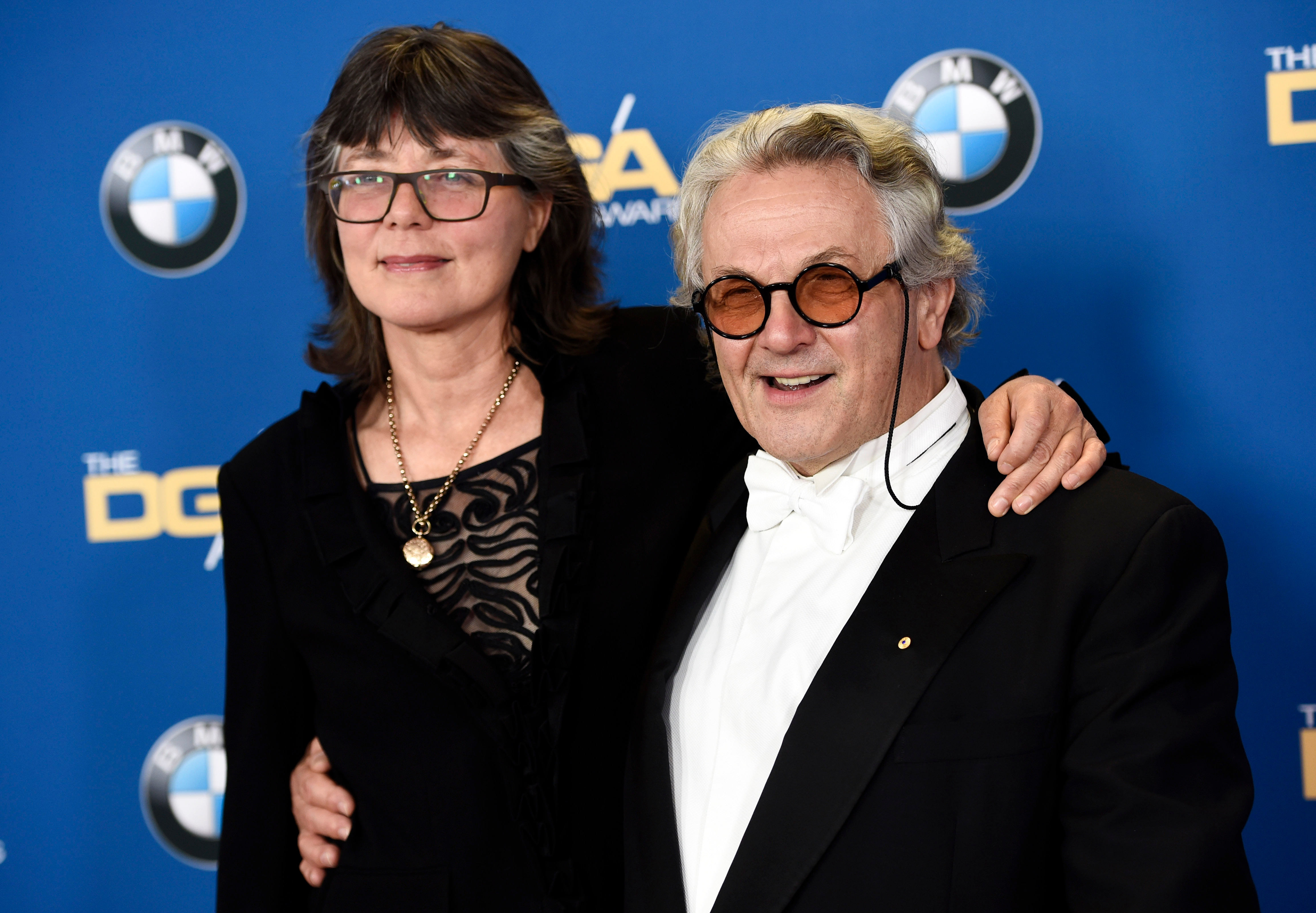 "Director George Miller, a feature film award nominee for ""Mad Max: Fury Road,"" poses with his wife, film editor Margaret Sixel, at the 68th Directors Guild of America Awards at the Hyatt Regency Century Plaza on in Los Angeles68th Annual DGA Awards, Los Angeles, USA"