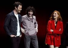 """IT Chapter Two Bill Hader, Finn Wolfhard, Jessica Chastain. Bill Hader, left, Finn Wolfhard, center, and Jessica Chastain, cast members in the upcoming film """"It: Chapter Two,"""" share a laugh onstage during the Warner Bros. presentation at CinemaCon 2019, the official convention of the National Association of Theatre Owners (NATO) at Caesars Palace, in Las Vegas2019 CinemaCon - Warner Bros. Presentation, Las Vegas, USA - 02 Apr 2019"""