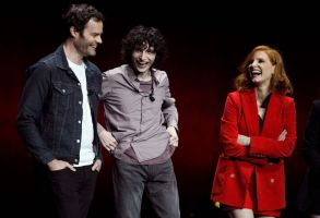 "IT Chapter Two Bill Hader, Finn Wolfhard, Jessica Chastain. Bill Hader, left, Finn Wolfhard, center, and Jessica Chastain, cast members in the upcoming film ""It: Chapter Two,"" share a laugh onstage during the Warner Bros. presentation at CinemaCon 2019, the official convention of the National Association of Theatre Owners (NATO) at Caesars Palace, in Las Vegas2019 CinemaCon - Warner Bros. Presentation, Las Vegas, USA - 02 Apr 2019"