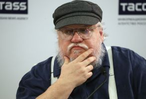 US writer George R.R. Martin attends a news conference in St.Petersburg, Russia, 16 August 2017. The author of 'Song of Ice and Fire' series of fantasy novels, which inspired HBO series 'Games of Thrones', visits to take part in St.Petersburg Fantastic Assembly. The event runs from 18 to 21 August.George R. R. Martin visits St.Petersburg, Russia - 16 Aug 2017