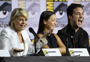 "Linda Hamilton, Natalia Reyes, Diego Boneta. Linda Hamilton, from left, Natalia Reyes and Diego Boneta participate in the ""Terminator: Dark Fate"" panel on day one of Comic-Con International, in San Diego2019 Comic-Con - ""Terminator: Dark Fate"" Panel, San Diego, USA - 18 Jul 2019"