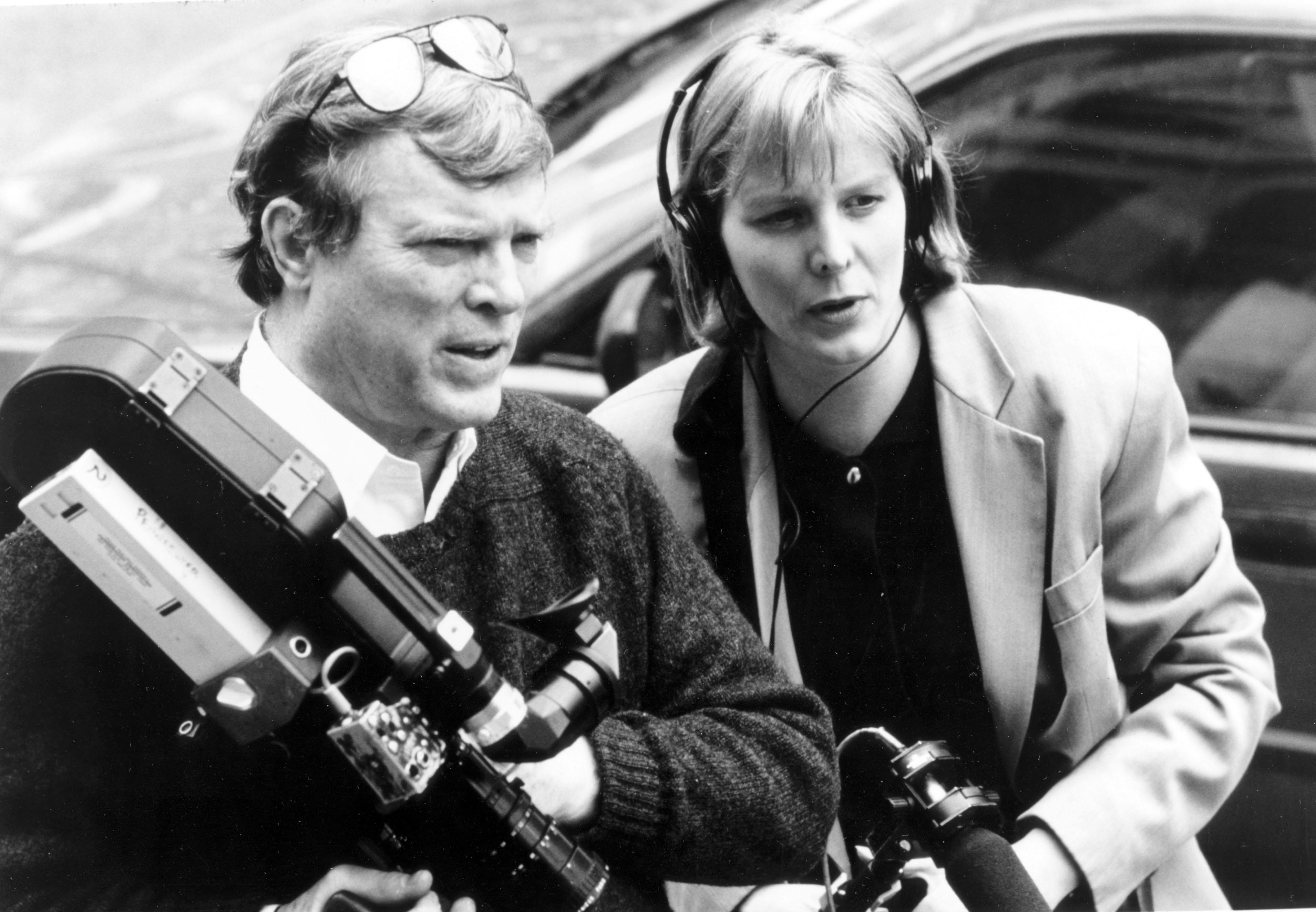 D.A. Pennebaker (l.) und Chris Hegedus bei Dreharbeiten.
