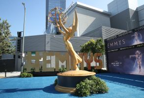 Emmy statue Emmy carpet roll out, Los Angeles, USA - 13 Sep 2018