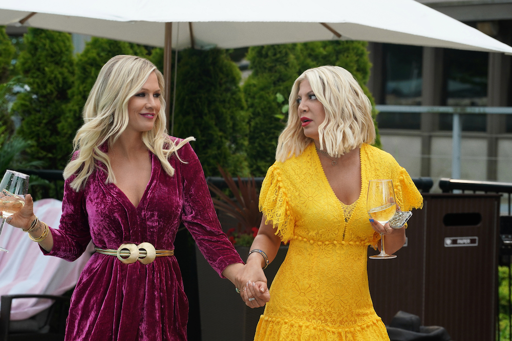 "BH90210: L-R: Jennie Garth and Tori Spelling in the BH90210 ""Reunion"" series premiere episode airing Wednesday, Aug. 7 (9:00-10:00 PM ET/PT) on FOX. ©2019 Fox Media LLC"