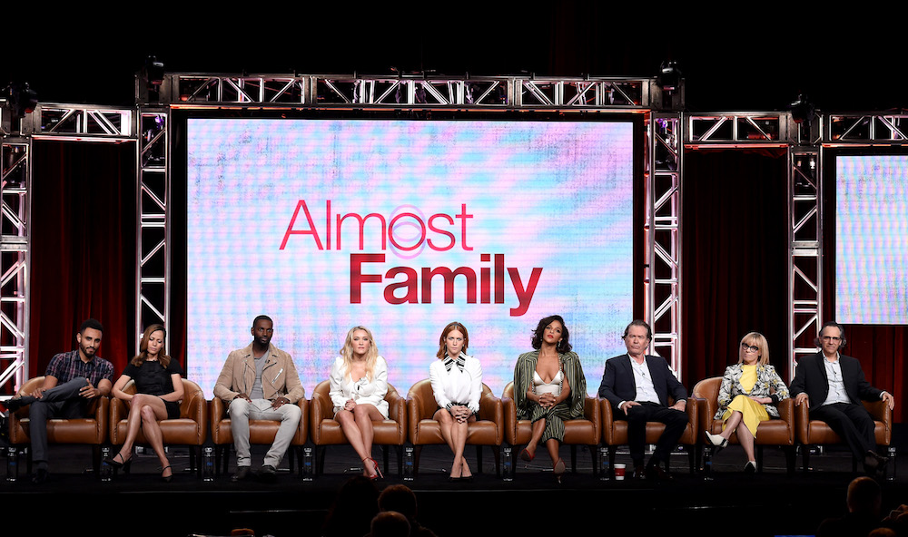 2019 FOX SUMMER TCA: (L-R): ALMOST FAMILY cast members Mustafa Elzein, Victoria Cartagena, Mo McRae, Emily Osment, Brittany Snow, Megalyn Echikunwoke and Timothy Hutton, and Executive Producers Annie Weisman and Jason Katims during the ALMOST FAMILY panel at the 2019 FOX SUMMER TCA at the Beverly Hilton Hotel, Wednesday, Aug. 7 in Beverly Hills, CA. CR: Frank Micelotta/FOX/PictureGroup