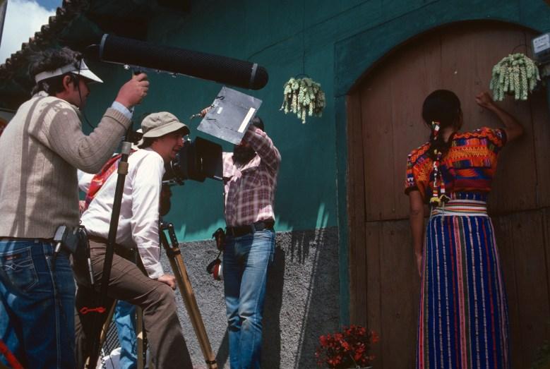 """Gregory Nava filming Zaide Silvia Gutiérrez on the set of """"El Norte"""""""