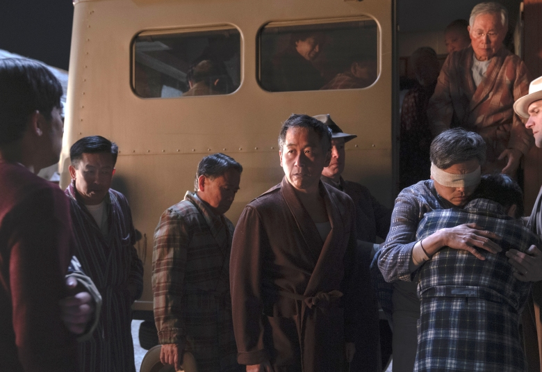 Shingo Usami as Henry Nakayama, Derek Mio as Chester Nakayama, Eiji Inoue as Hideo Furuya, Alex Shimizu as Toshiro Furuya, George Takei as Yamato-San - The Terror _ Season 2, Episode 1 - Photo Credit: Ed Araquel/AMC
